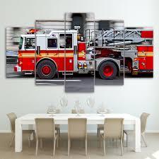 100 Fire Truck Wall Art 5 Panel HD Canvas Wall Art Firefighter Fire Truck Canvas Wall