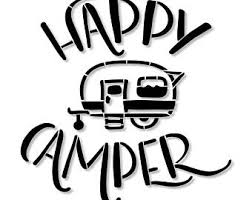 Happy Camper Stencil Wood Sign Wall Decor Painting