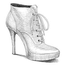 Download Vector Drawing In Vintage Style Of Woman Shoes Stock