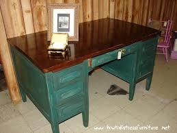 antique distressed teacher s desk walnut top distressed body