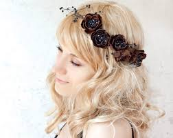Floral crown Brown flower headband Leather floral hair band