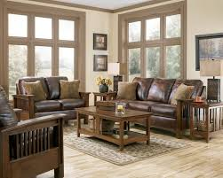 Furniture Rustic Living Room Leather Sofa With Carpet And Wooden Floor Window