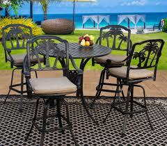 Cast Aluminum Patio Furniture With Sunbrella Cushions by Palm Tree Cast Aluminum Outdoor Patio 5pc Bar Set 4 Barstool 42
