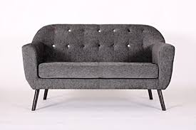 retro designer sessel mit geschwungenem stoff für wohnzimmer esszimmer empfang 2 sitzer sofa anthrazit
