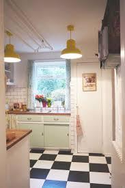 New 50s Black And White Small Kitchen Design Decor Photo With