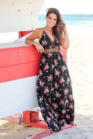 black floral maxi dress with crochet detail maxi dresses u2013 saved