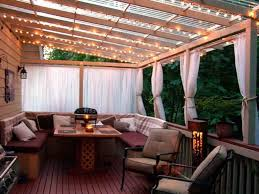Patio Curtains Outdoor Idea by Decor U0026 Tips Patio Overhang And String Patio Lighting With Patio