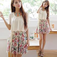Style Summer Dress 2014 Fashion Cute Girls Floral Print Batwing Sleeve Pleated Discovered By Alaska