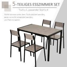 homcom essgruppe mit 4 stühlen esszimmergarnitur sitzgruppe tischgruppe grau
