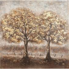 gilde leinwandbild gemälde baumpaar bäume 1 st handgemaltes bild 100x100 cm wohnzimmer