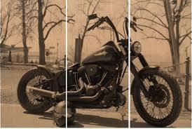 Harley Davidson Motorcycle Bike Print On Wood Painting