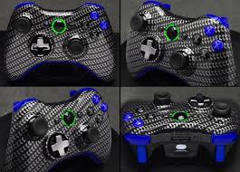 XBox 360 Carbon Fiber Black Blue Wireless Remote Game Console Controller Gamepad Microsoft