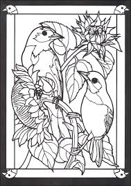 Stained Glass Coloring Pages Of Birds