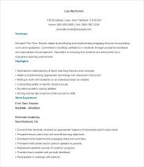 Examples Of Teacher Resume Free Sample Templates Example Format