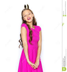 happy young woman teen girl in pink dress stock photo image