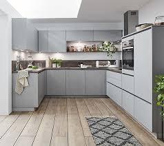 cemento grifflose komplett küche in u form xl höhe
