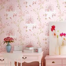 großhandel gute qualität kinderzimmer tapete mädchen non woven blau rosa tapeten schloss schlafzimmer prinzessin raum prinzessin rosa