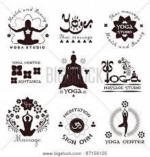 Set Of Yoga Studio Names Logos And Outline Components Back Rub Body Unwinding Activities Wellbeing