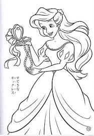 Ariel Hold Pearl Necklace Coloring Pages For Kids Printable Little Mermaid
