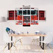 100 Fire Truck Wall Art Truck Engine 5 Piece Canvas Vigor And Whim