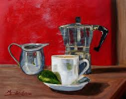 Cuban Coffee Lime And Creamer Painting By Maria Soto Robbins