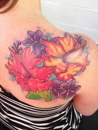 Hibiscus Flower Tattoo Design For Women On Upper Back