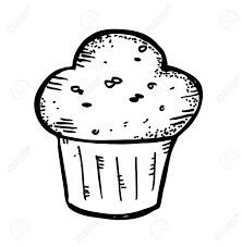 Blueberry Muffin clipart black and white 1