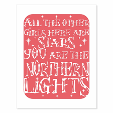 Typography Art Print Northern Lights v1 in coral pink with