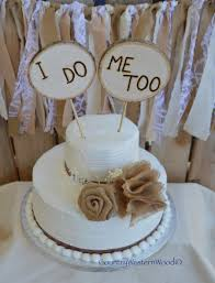 Rustic Cake Topper Wedding Burlap Wood I Do Me Too