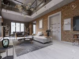100 Loft Style Apartment Modern Living Room With Dining Area And Dining Table In A Loftstyle