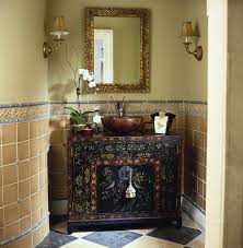 Amazing Rustic Bathrooms Vanity Design With Pottery Sink As Well Wall Mounted Square Mirrors Antique Shade Lights In Small