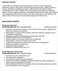Sample Resume For Warehouse Supervisor Manager