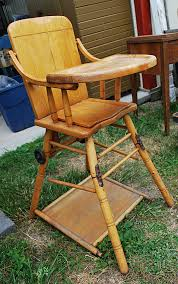 Old Wooden High Chair, Complete With Tray And Hinged Legs! Find It ...