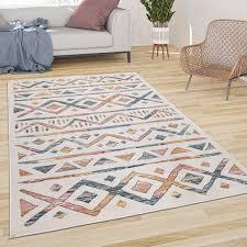 kurzflor teppich mit boho muster hell und bunt