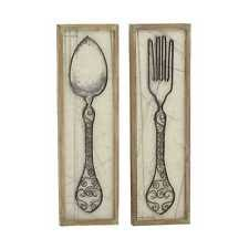 Wooden Fork And Spoon Wall Hanging by Fork And Spoon Wall Decor Ebay