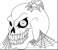 Terrific Halloween Skull Coloring Pages Printable With Scary And Pumpkin
