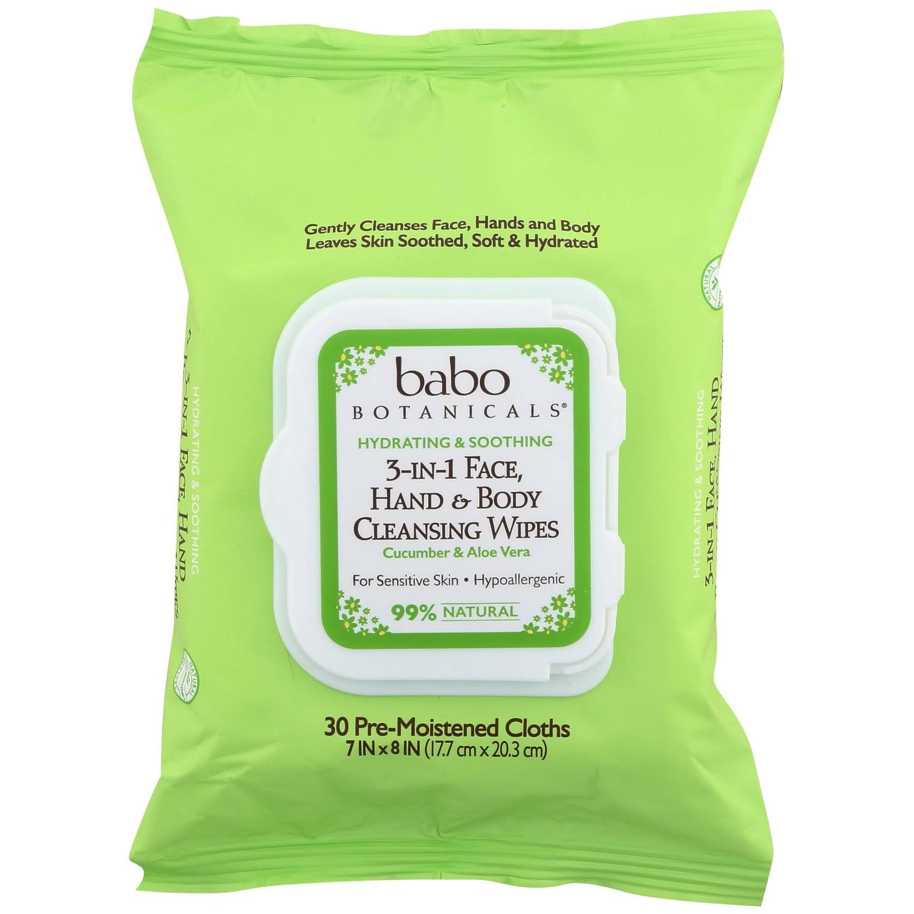 Babo Botanicals 3-in-1 Hydrating Wipes - Cucumber and Aloe, 30 Sheets