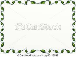 Green Leaf Doodle Page Border Decor