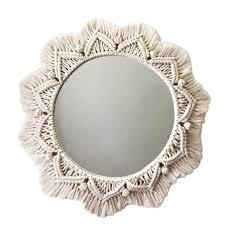 hängen wand spiegel mit makramee fringe stricken spiegel böhmischen macrame geometrische design für wohnung wohnzimmer schlafzimmer dekoration d