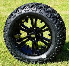 100 14 Inch Truck Tires VAMPIRE Gloss Black Golf Cart Wheels All Terrain Golf Cart
