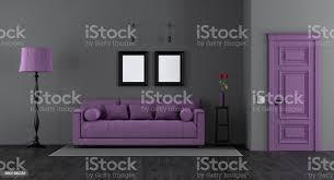 elegantes schwarz und lila wohnzimmer stockfoto und mehr bilder architektur