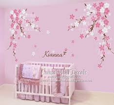 Nursery wall decal baby girl and name wall decals flowers by cuma $89 00