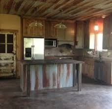 Rustic Kitchen With Old Door For Pantry Custom Made Island Tin Ceiling Idea Basement Bar