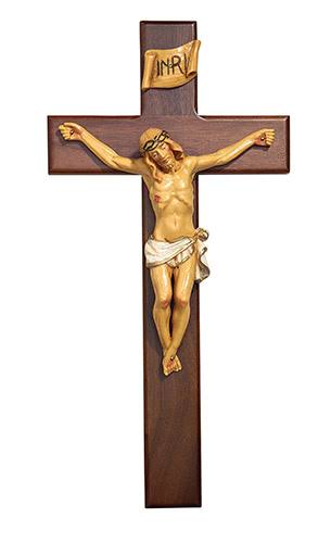CB Catholic W06C12 12 in. Walnut Crucifix GP Bronze
