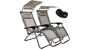 2-Pack Zero Gravity Outdoor Lounge Chairs Patio Adjustable Folding Canopy  Sunshade Reclining Chairs - Grey Color