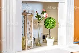 moderne minimalismus haus wohnzimmer regal dekoration dekor mit grünen blumentopf topf pflanze haus interieur und blumen stockfoto und mehr bilder