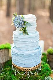 Blue Ombre Ruffle Wedding Cake With Succulent