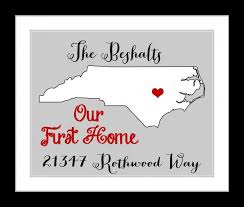 Our First Home Housewarming Gift Custom Map State Print Add Quote Location Address Last Name Sign Heart Love Unique Wall Art Decor