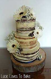 Semi Naked Rustic Wedding Cake On Tree Stump By Lucie Loves To Bake Lucielovestobake