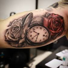 Memorial Pocket Watch With Rose Tattoo Design For Brother